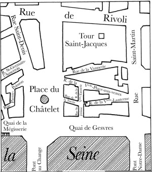 Plan du quartier du Châtelet en 1855 (tel que je l'avais adressé à l'éditeur et donc avant passage chez le compositeur)