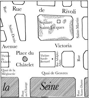 Plan du quartier du Châtelet en 1875 (idem)