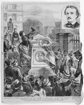 Cérémonies du 17 novembre 1875 à l'instant du dévoilement du nouveau tombeau de Poe. Jusque-là sans ornement, celui-ci a été surmonté d'un monumental bloc de basalte.