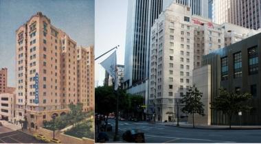 Le Mayflower Hotel, autrefois et maintenant (remplacé de nos jours par un hôtel Hilton). On note que les jardins suspendus sur le côté droit du bâtiment, qui donnaient autrefois accès à la bibliothèque publique, ont en partie disparu pour être remplacés par un immeuble de bureaux