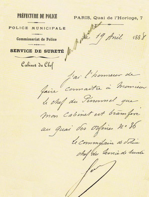 Note manuscrite du chef de la Sûreté de l'époque, Marie-François Goron, indiquant la date effective du transfert de son service au 36, quai des Orfèvres (extrait de « Histoire du 36 illustrée » de Cancès et Diaz)