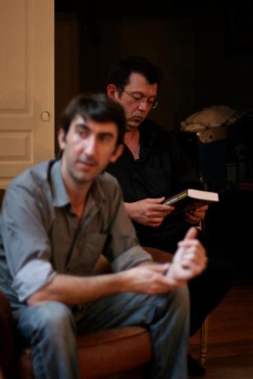 Rencontre littéraire organisée par Éric Poindron : avec Jean-Luc Bizien (en arrière-plan).