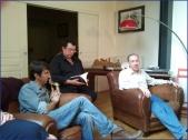 Rencontre littéraire organisée par Éric Poindron : avec Jean-Luc Bizien (au centre) et Gilles Bornais (à droite).