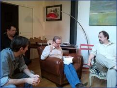 Rencontre littéraire organisée par Éric Poindron : avec Jean-Luc Bizien, Gilles Bornais et Éric Poindron (de gauche à droite).