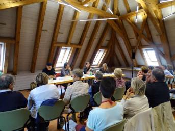 Édition 2015 du festival Le Livre sur les quais, à Morges (Suisse). Avec Ian Manook (à gauche), Sonja Delzongle (à droite) et votre serviteur.