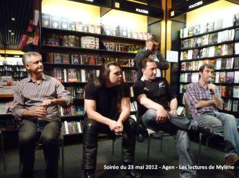 23 mai 2012: rencontre à la librairie Martin-Delbert (Agen). Soirée animée par Michel Gardère (en arrière-plan), en présence d'Éric Giacometti, Sir Cédric, David S. Khara et moi-même (de gauche à droite).