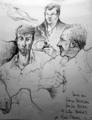 Rencontre littéraire organisée par Éric Poindron : avec Jean-Luc Bizien, Gilles Bornais et Fabrice Bourland. Dessin de Maud Chalmel.